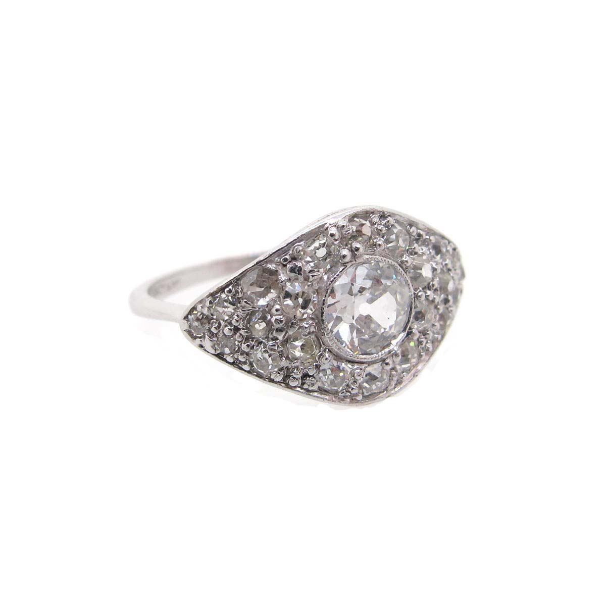 deco and 18ct white gold cluster ring a r