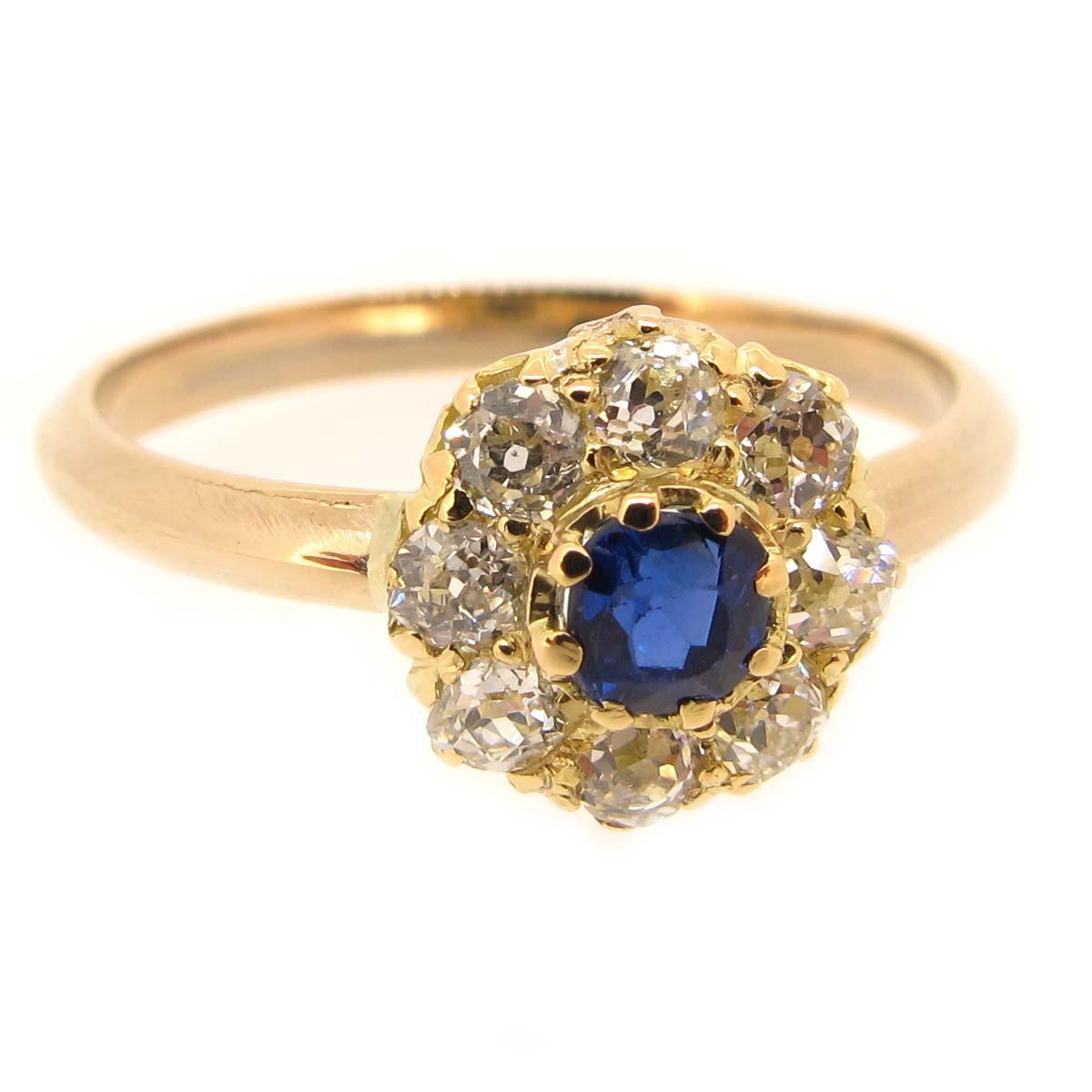 gold sapphire cluster ring a r ullmann