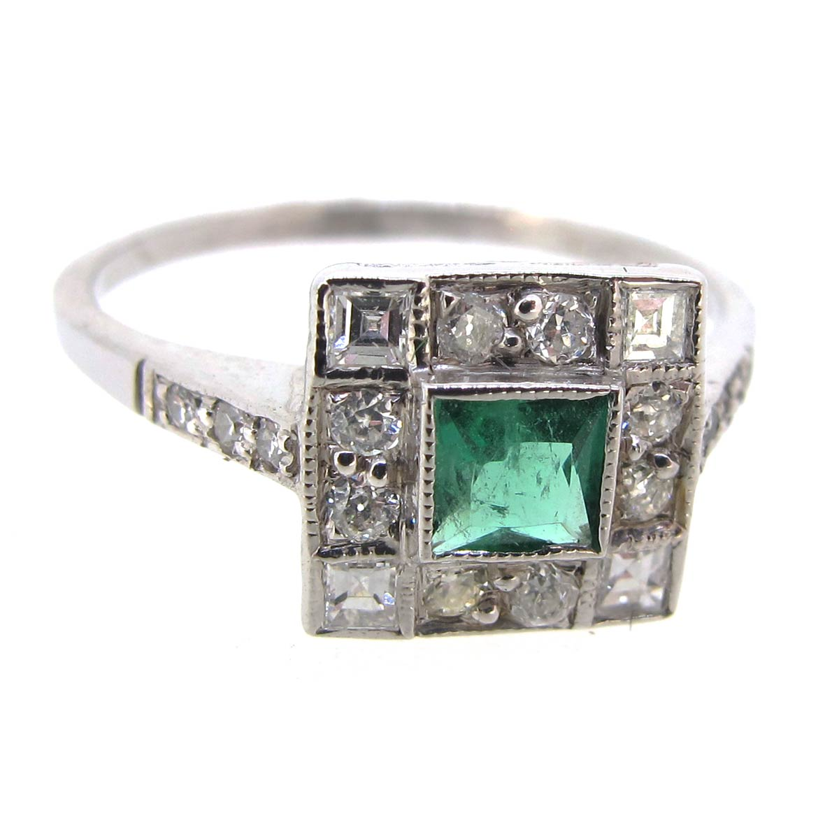 Emerald & Diamond Square Cluster Ring