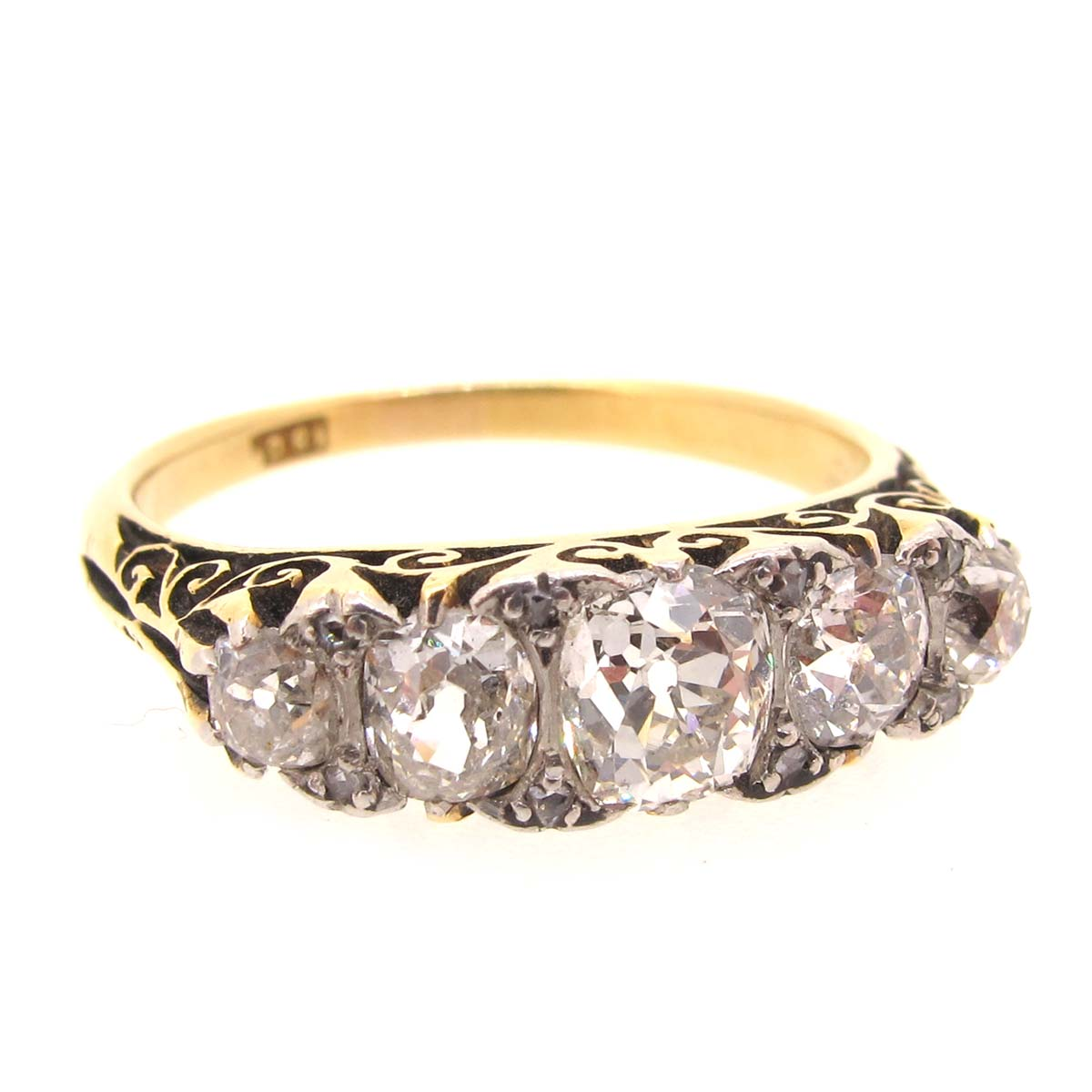Victorian gold & diamond 5 stone ring