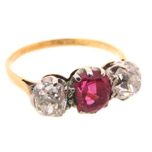 Gold, Ruby & Diamond 3 Stone Ring