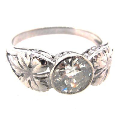Art Nouveau Diamond Solitaire Ring