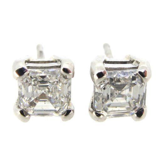 Platinum & Ascher Cut Diamond Earrings