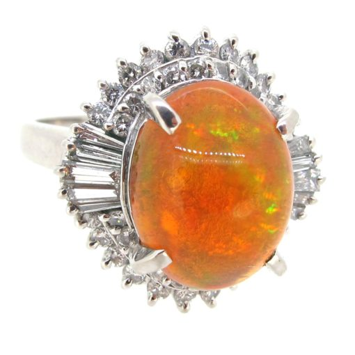 Fire Opal & Diamond Ring