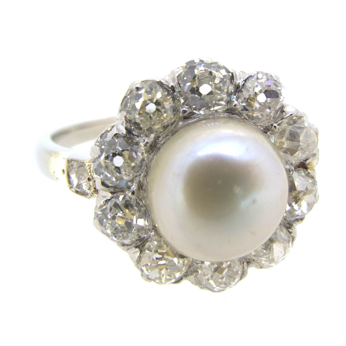 Pearl & Diamond Halo Cluster Ring