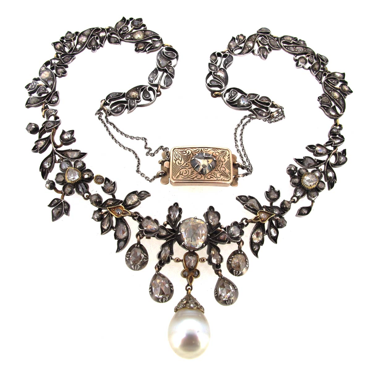 Antique Diamond & Pearl Necklace