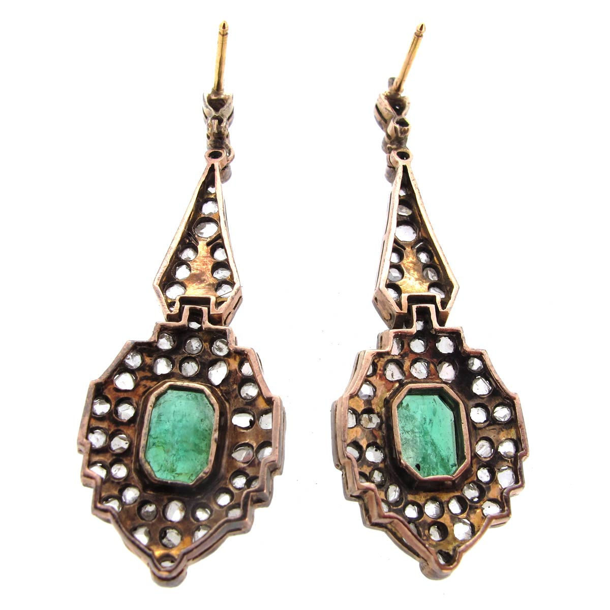 Antique Emerald & Diamond Earrings