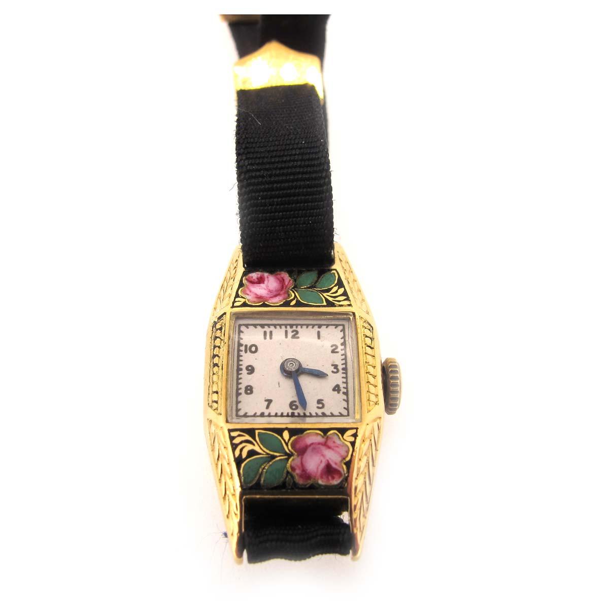 Antique gold & enamel wristwatch