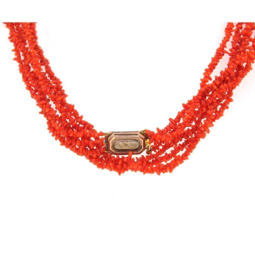 Antique coral multi-string necklace