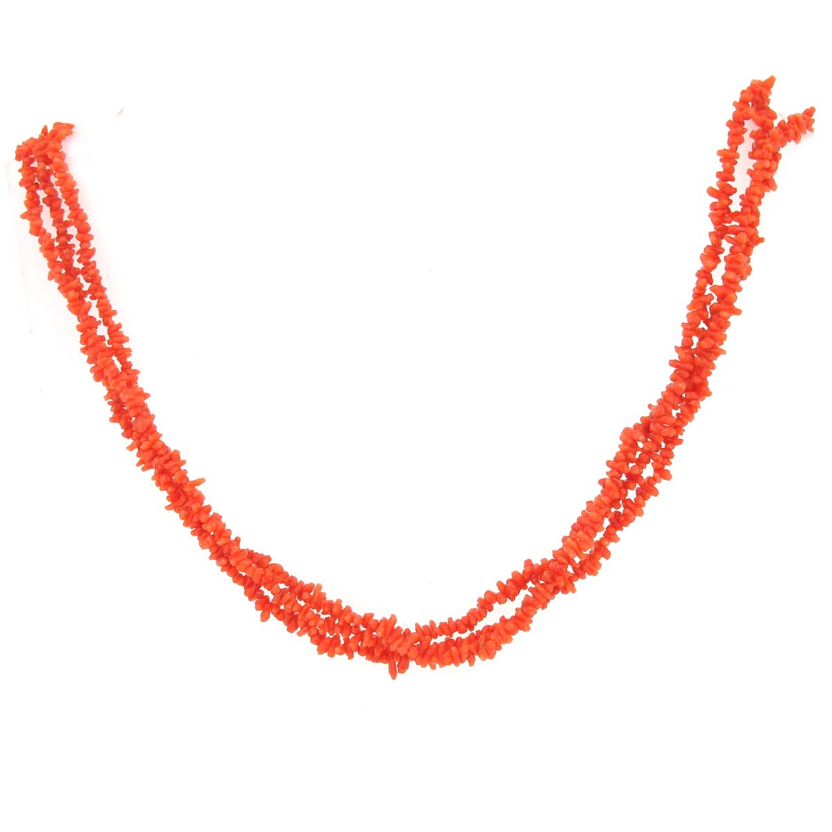 Antique coral multi-string necklace