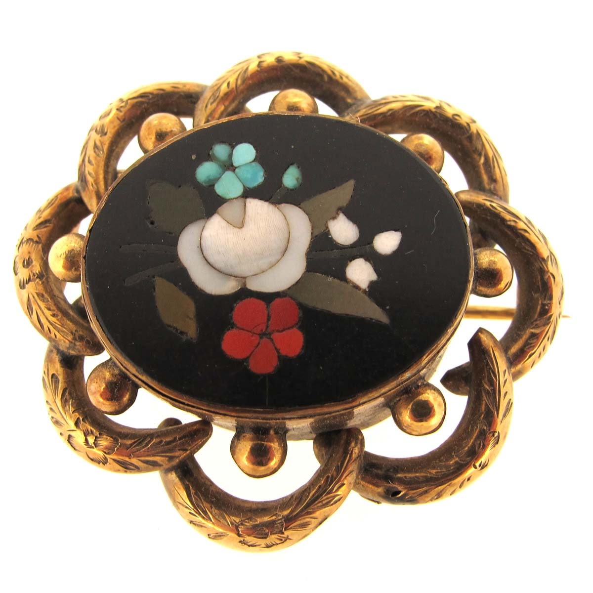 antique pietra dura brooch
