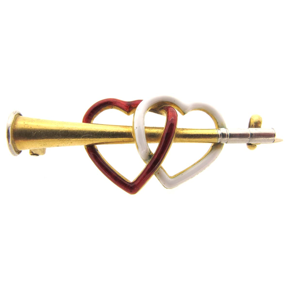 Antique gold & enamel heart brooch