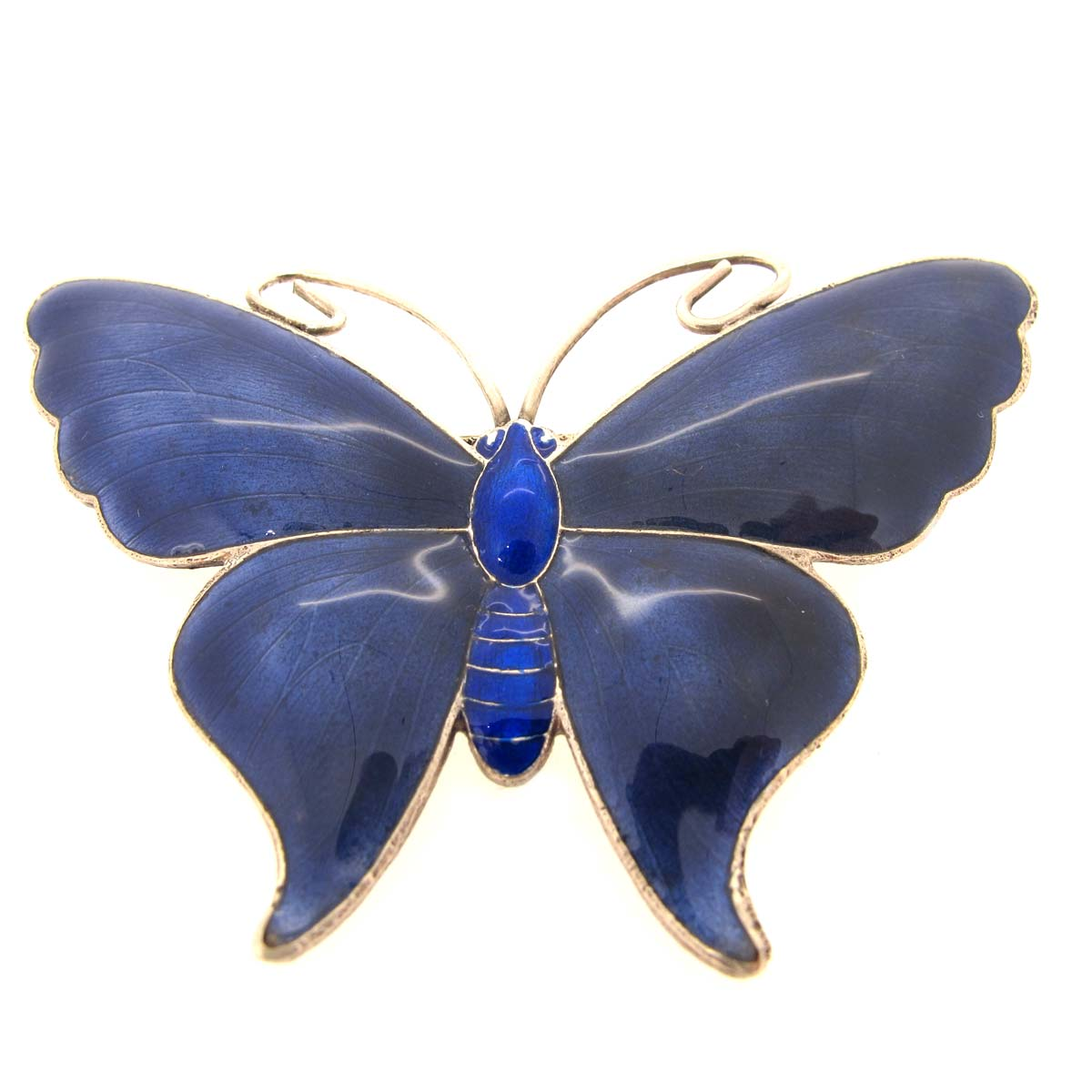Antique silver and blue enamel butterfly brooch