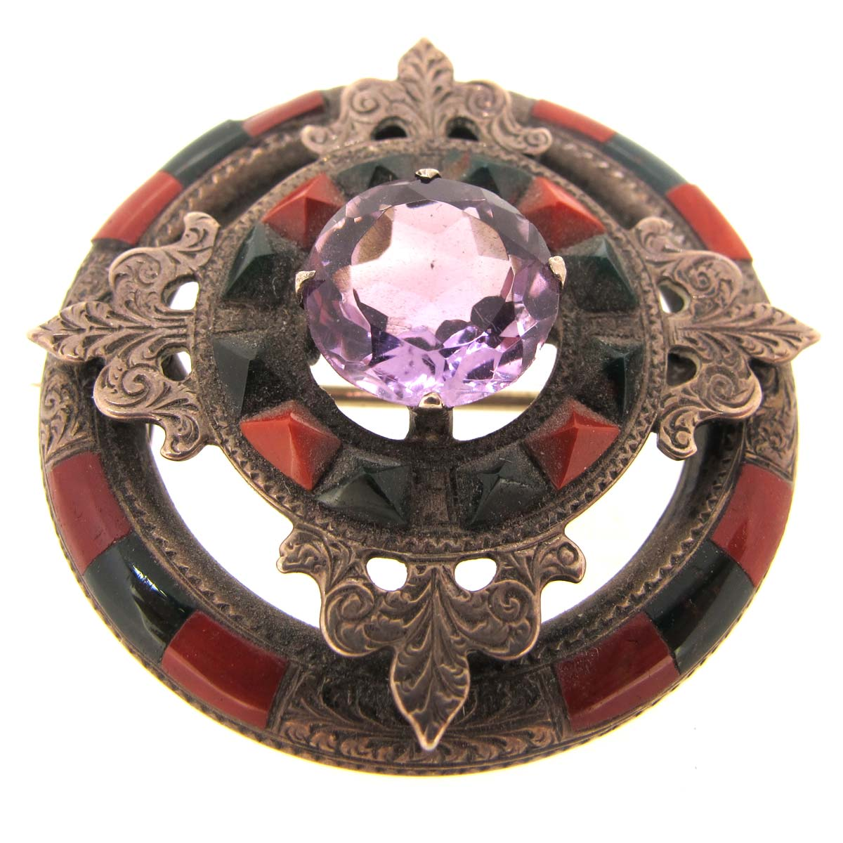 antique agate & amethyst brooch