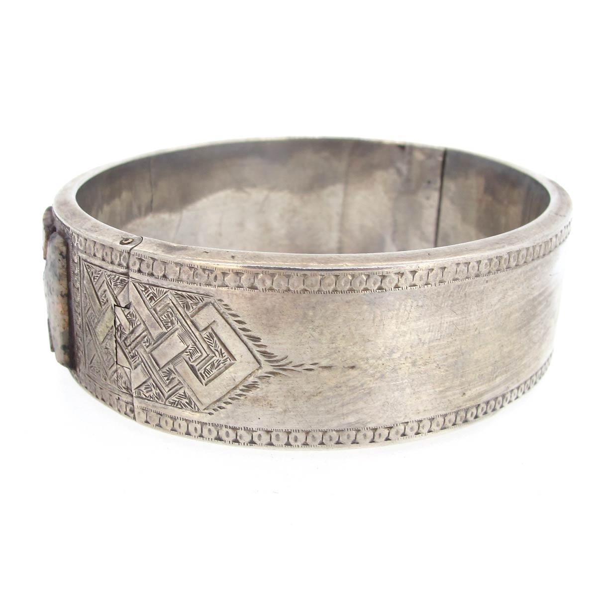 Silver & Agate Bangle