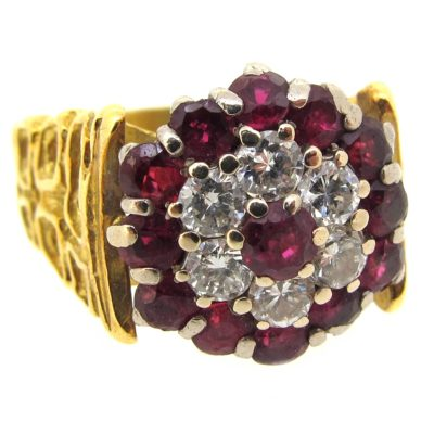 Ruby & Diamond Double Cluster Ring