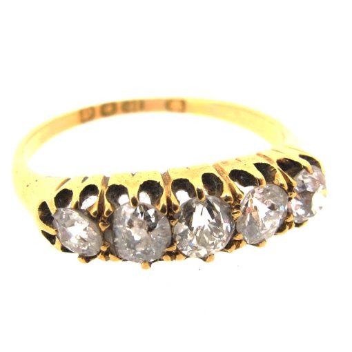 Antique Gold & Diamond 5 stone Ring