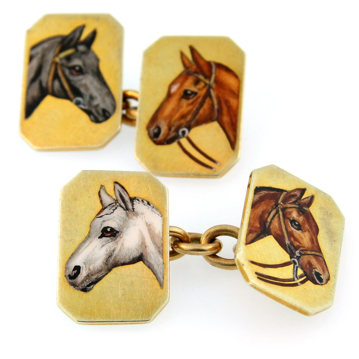 Gold and Enamel Horse Cufflinks