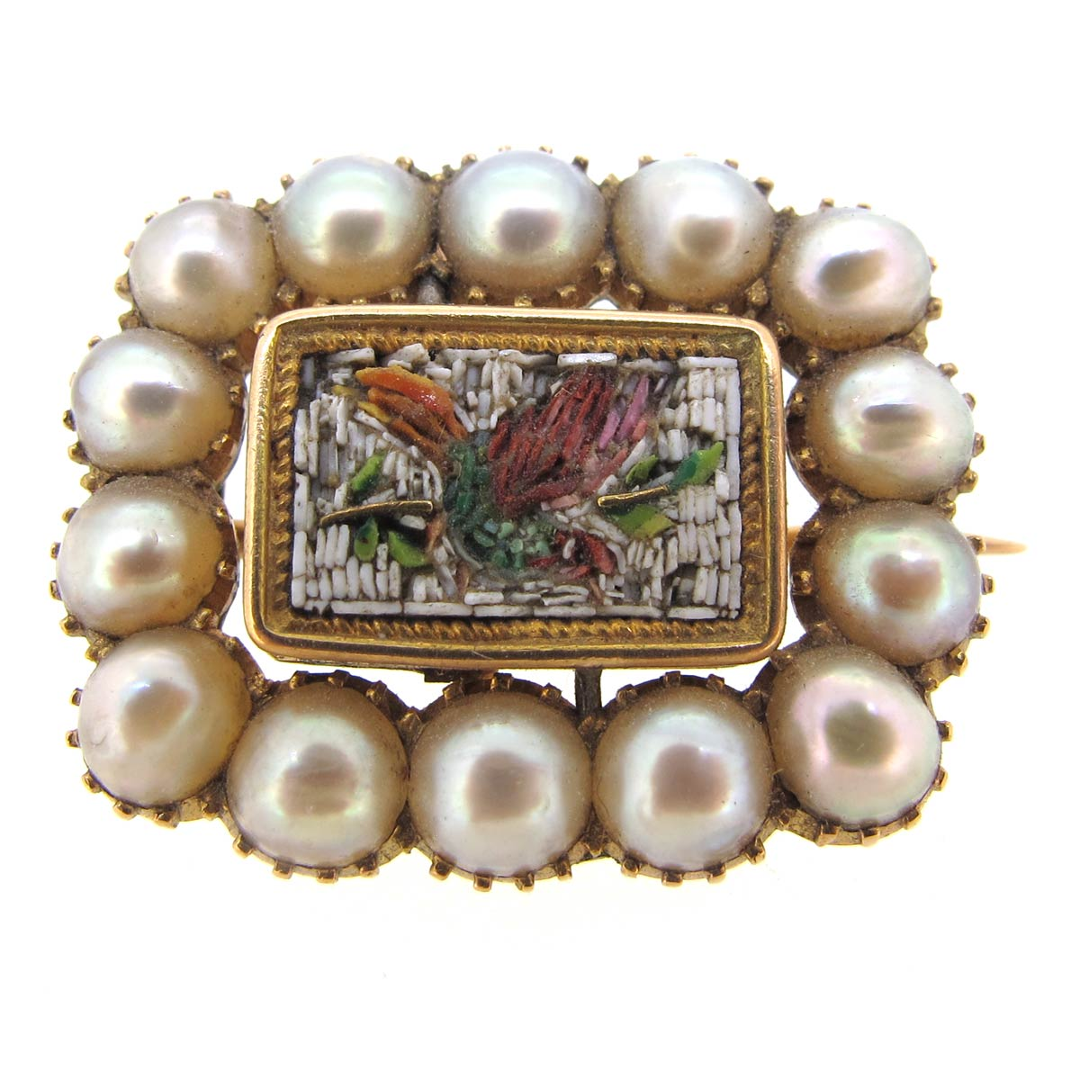 Antique Pearl & Micro Mosaic Brooch