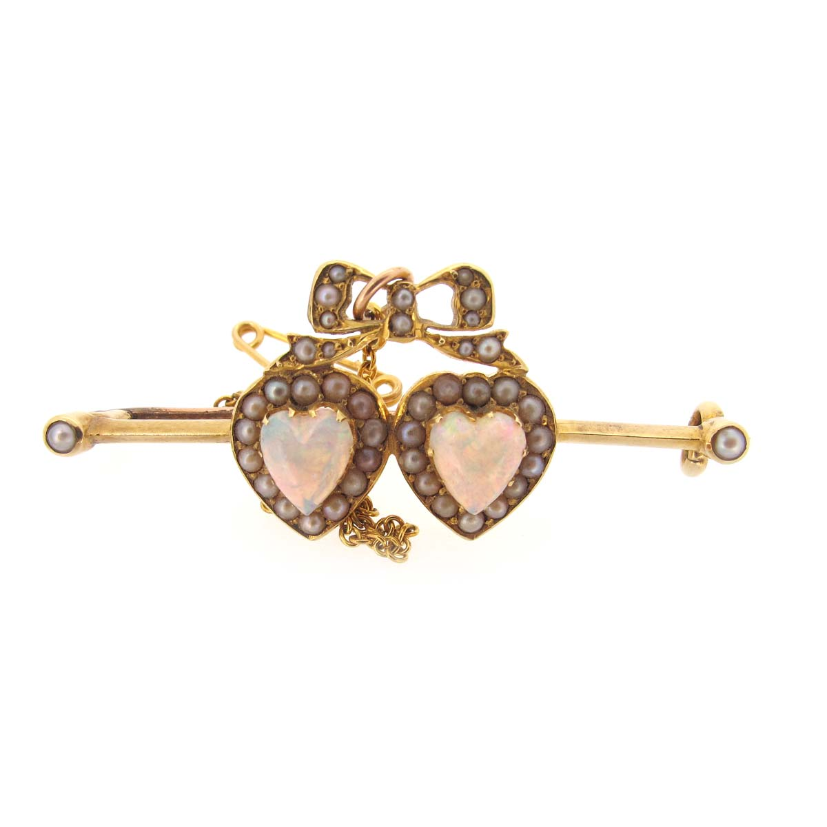 Antique opal & pearl heart brooch