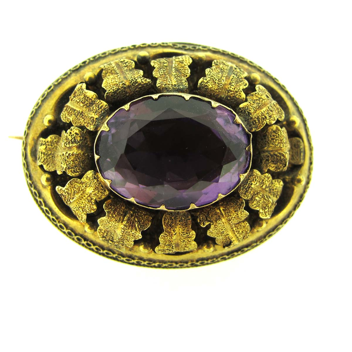 Antique gold & amethyst brooch