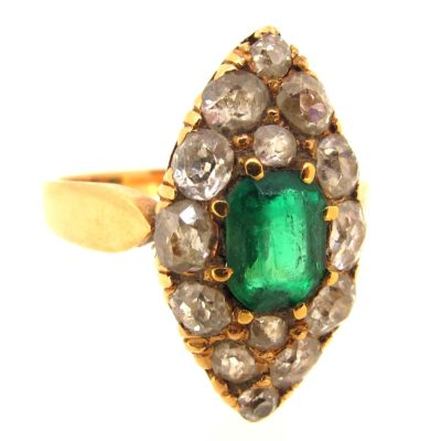 Antique Emerald & Diamond Marquise Shaped Ring