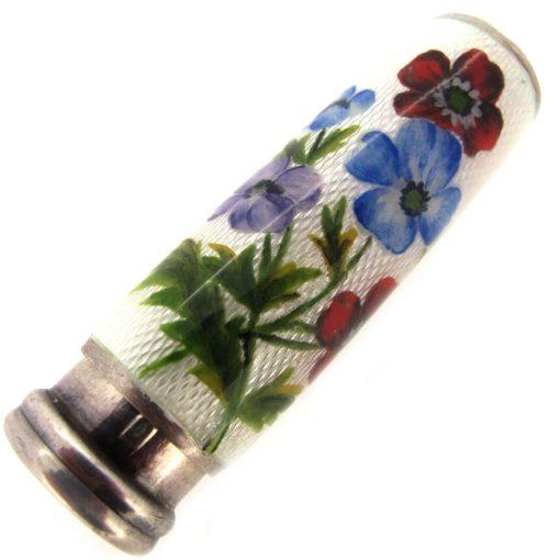 silver & enamel lipstick holder