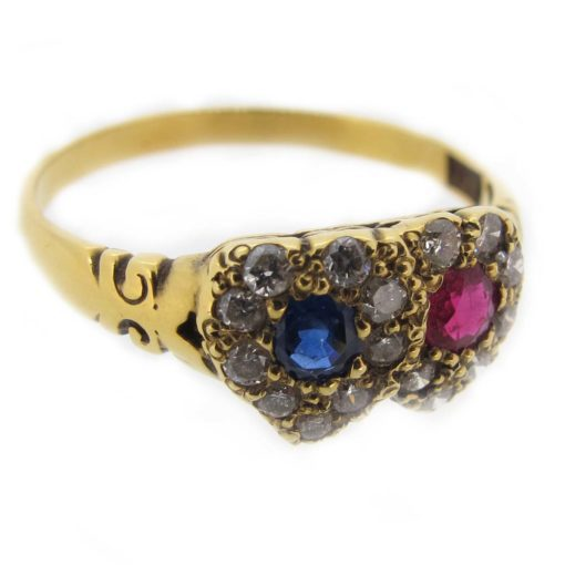 antique double heart ring