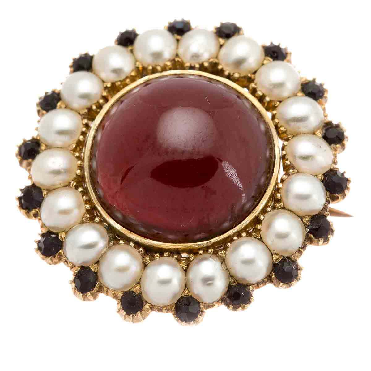 Antique Victorian garnet, pearl and onyx brooch