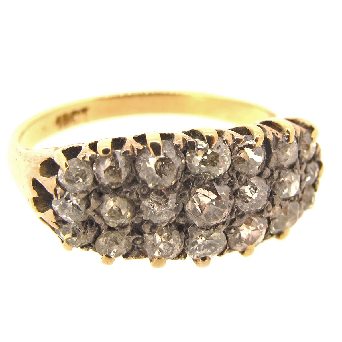Antique triple row diamond ring