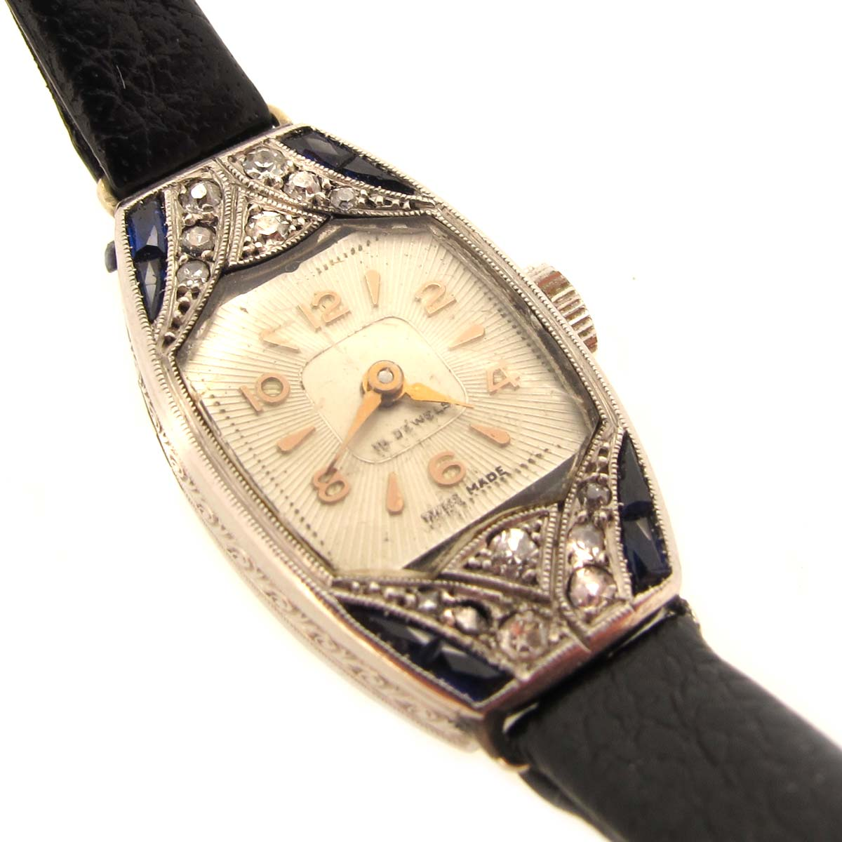 Art Deco Diamond & Sapphire Cocktail Watch