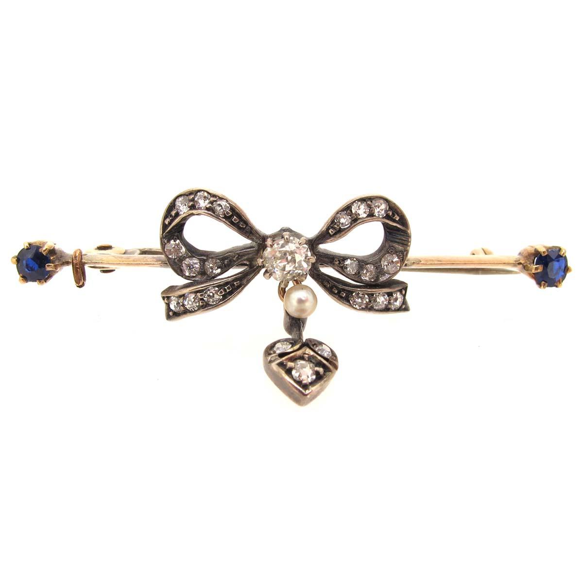 Antique diamond, sapphire & pearl brooch