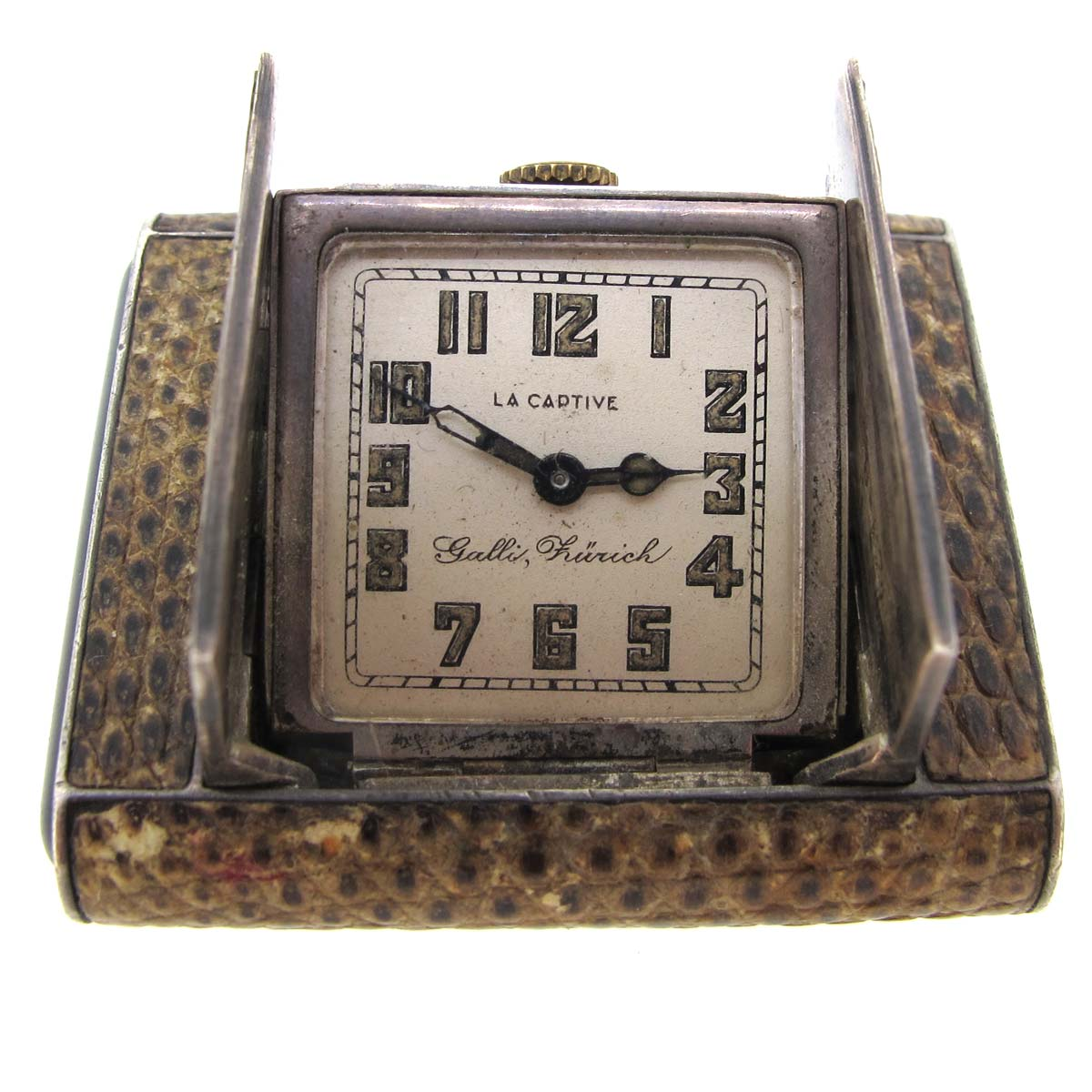 Art deco silver & snake skin travel clock