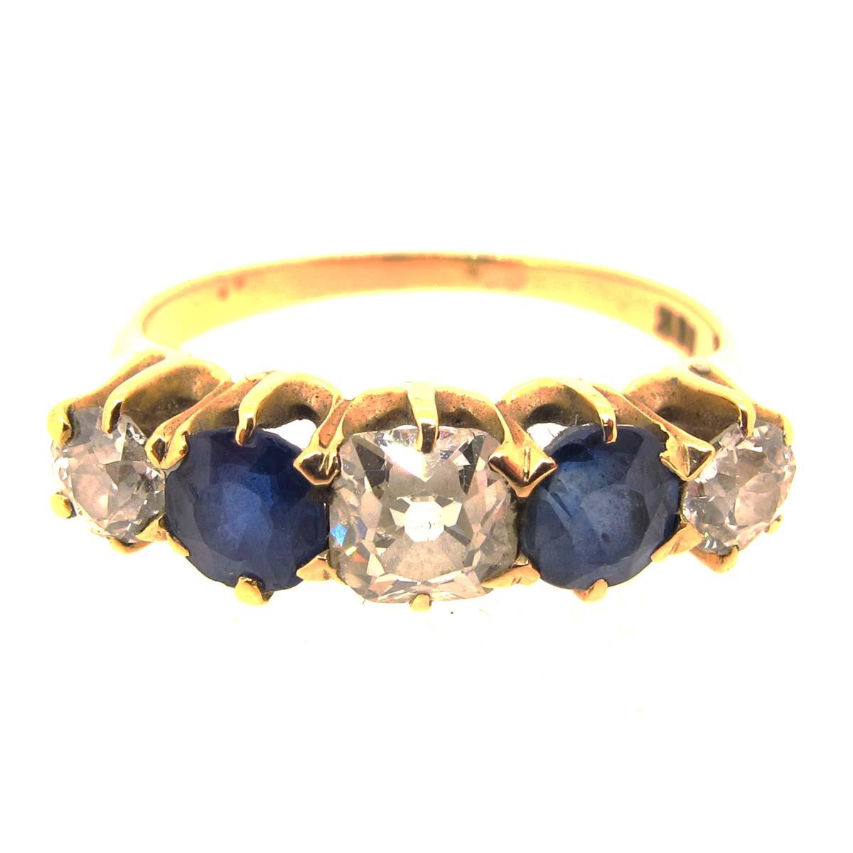 Gold, Sapphire & Diamond 5 stone ring