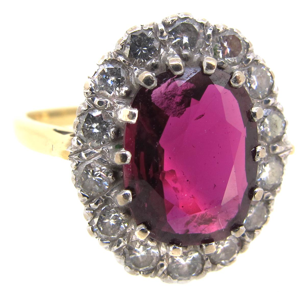 Garnet & Diamond Cluster Ring