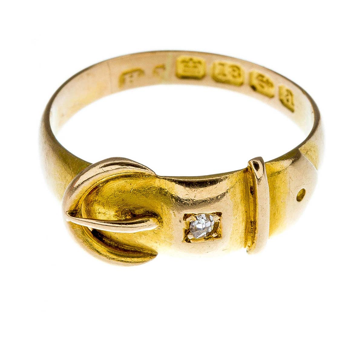 Antique Victorian gold & diamond buckle ring