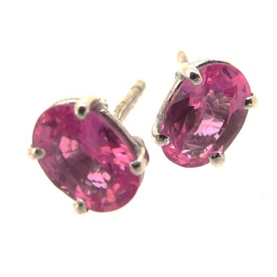 Pink Sapphire & White Gold Earrings