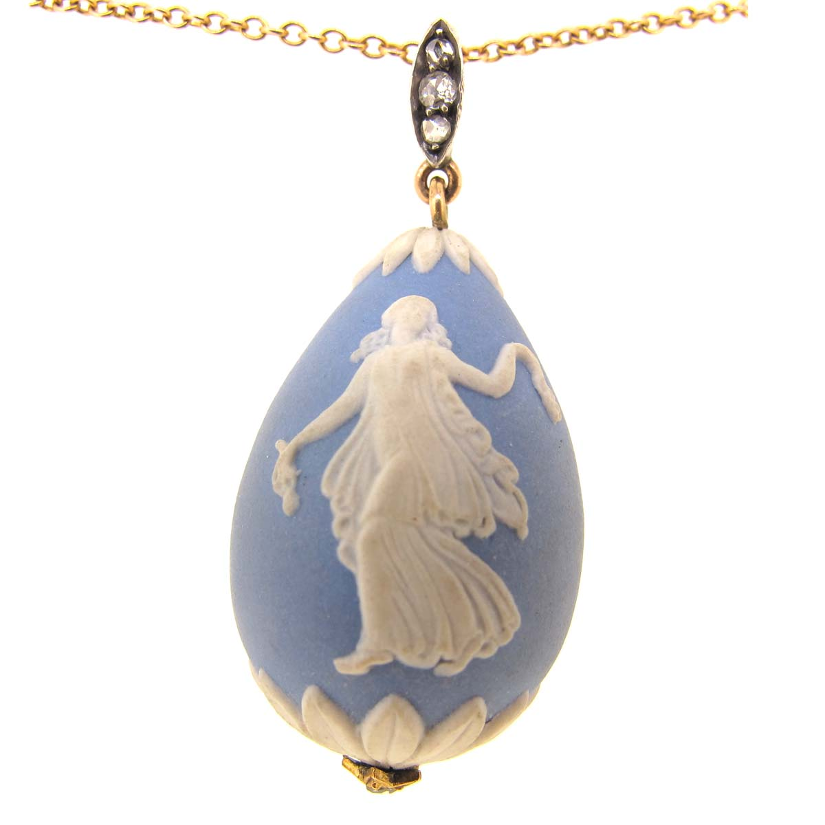 Wedgwood Blue Jasperware Egg Shaped Pendant