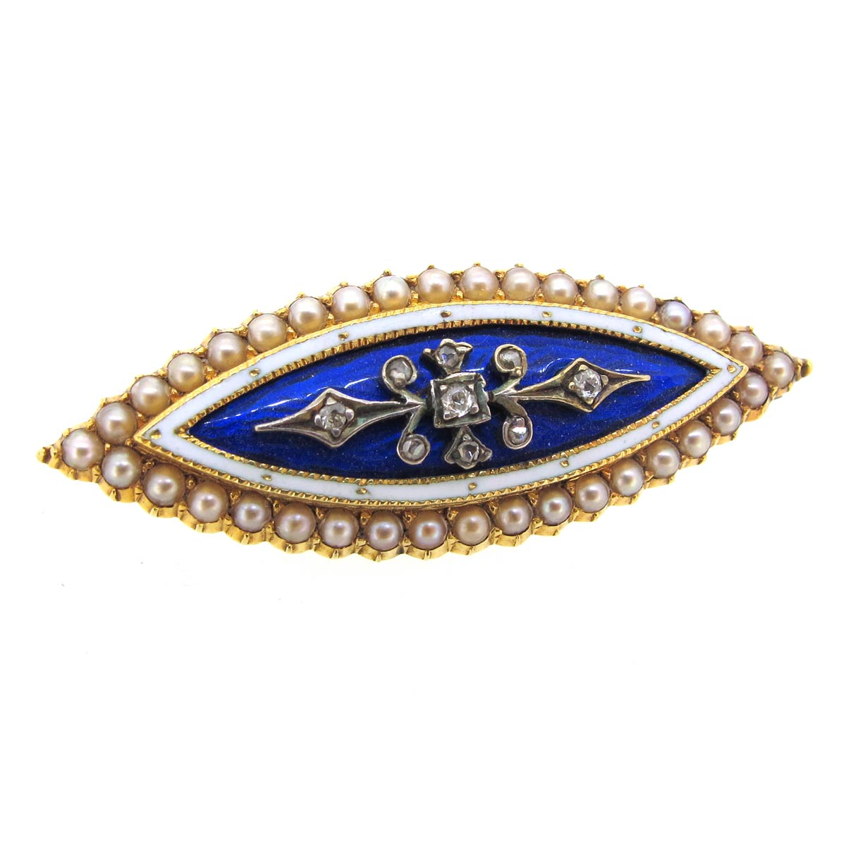 Antique Enamel, Pearl & Diamond Brooch