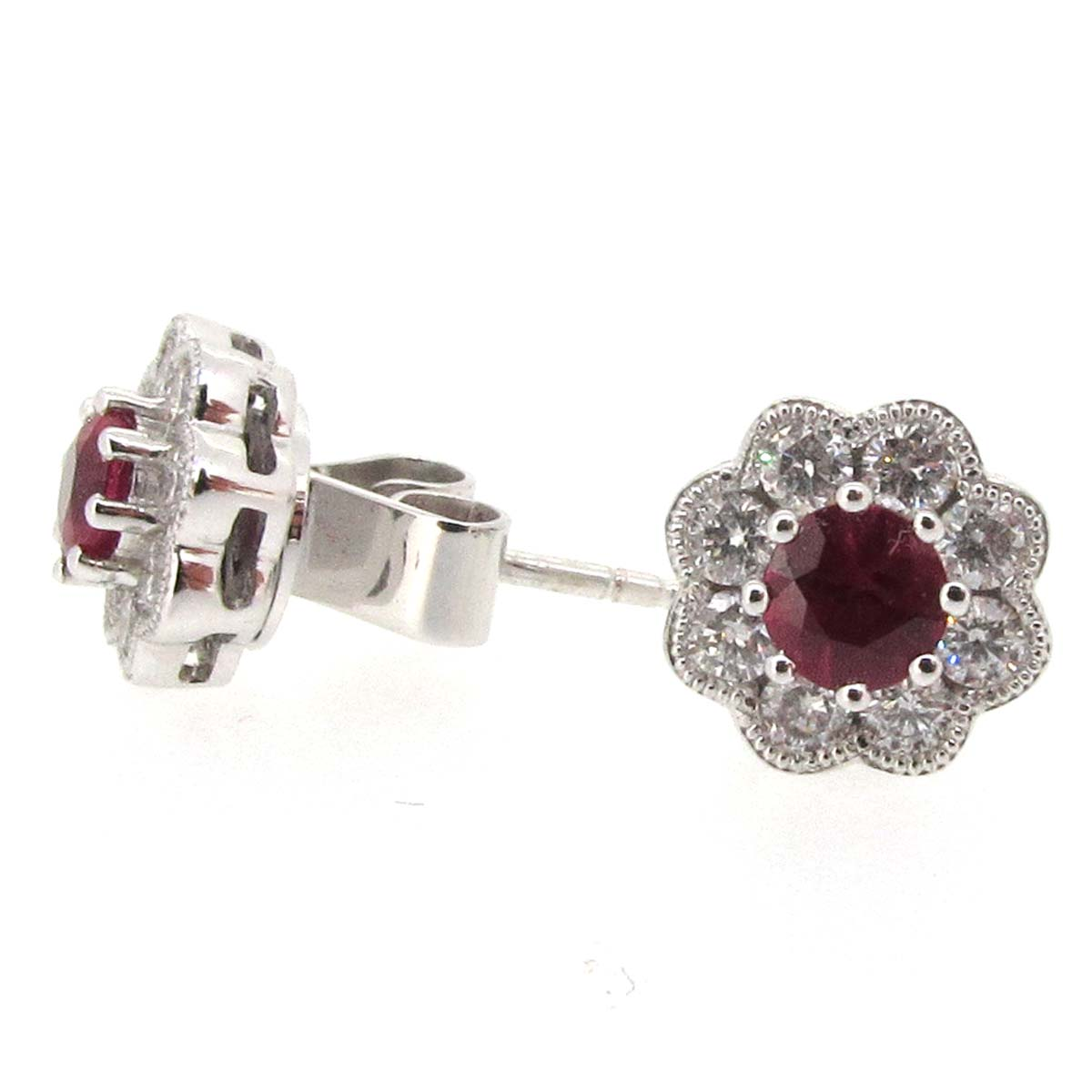 18ct white gold, ruby and diamond earrings