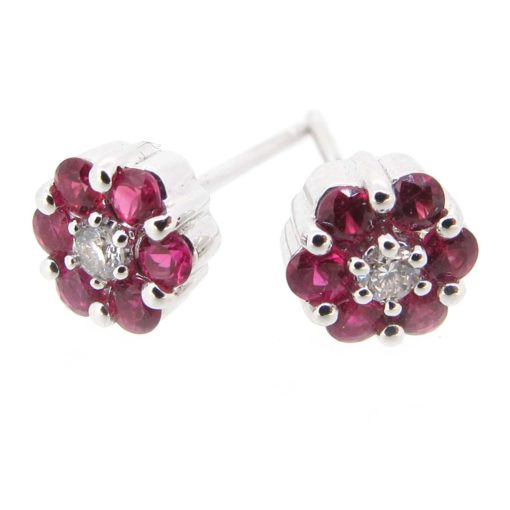 White Gold, Ruby & Diamond Earrings