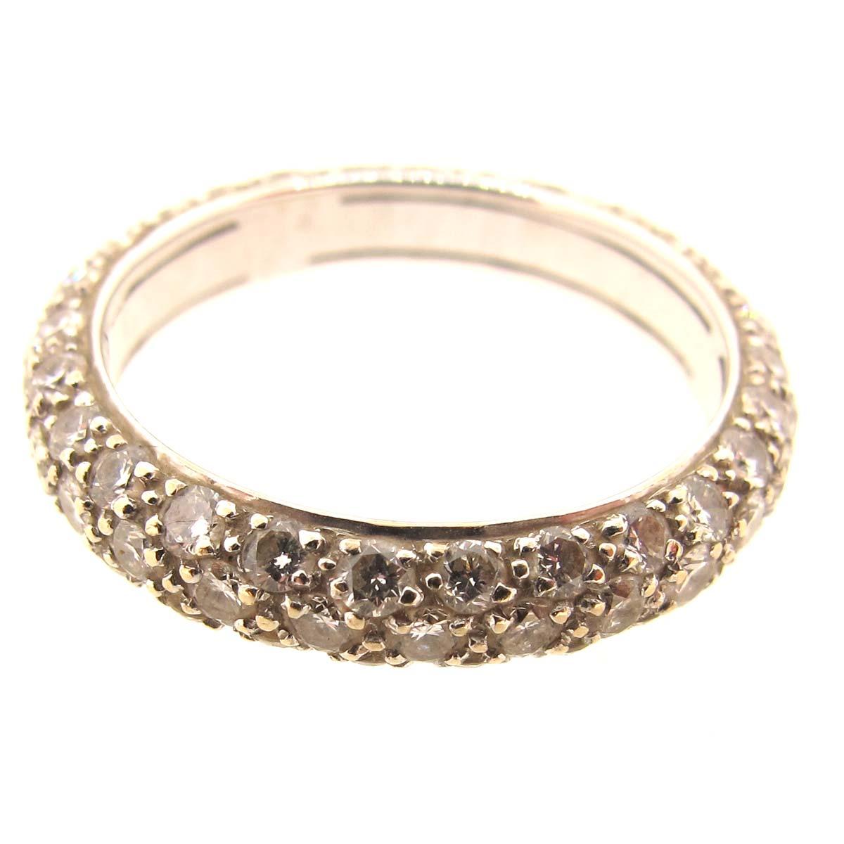 triple row diamond eternity ring