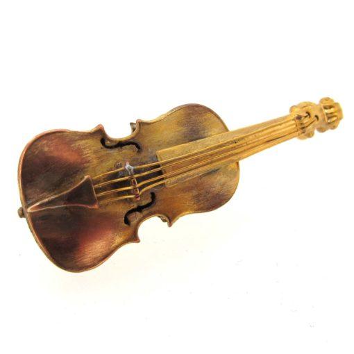 Antique gold musical brooch