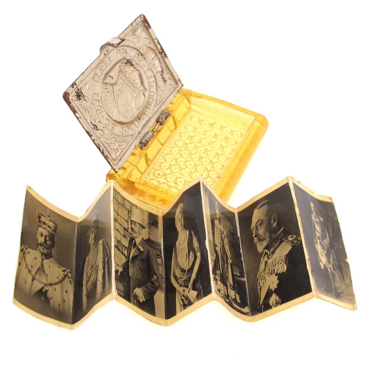 George V silver & Bakelite box