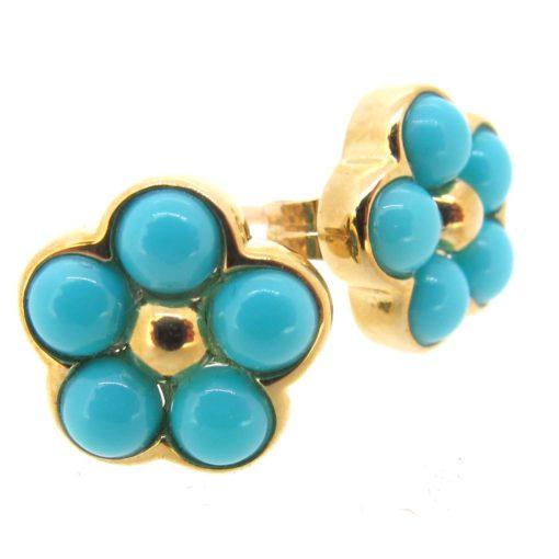 gold & turquoise flower cluster earrings