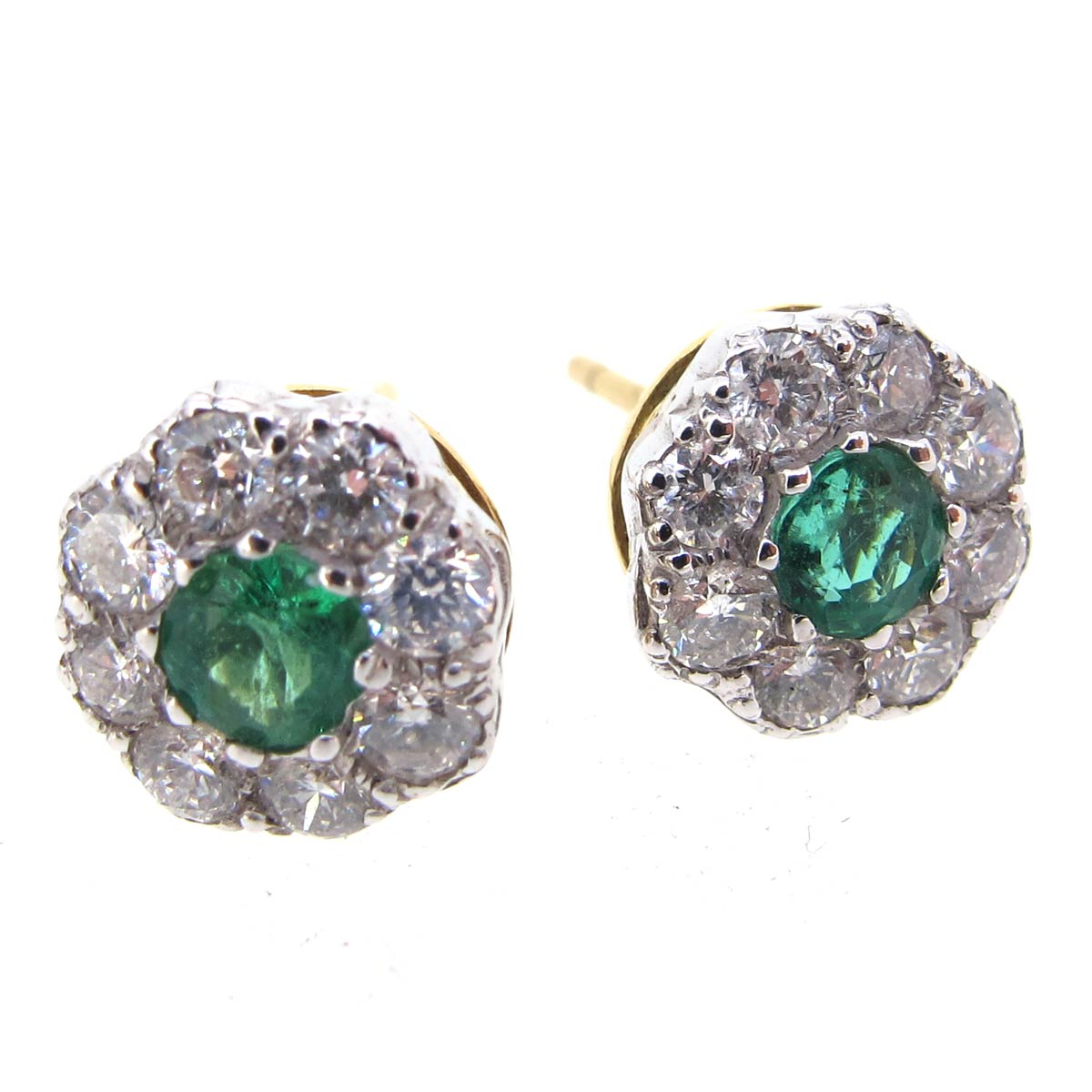 Emerald & Diamond Daisy Cluster Earrings