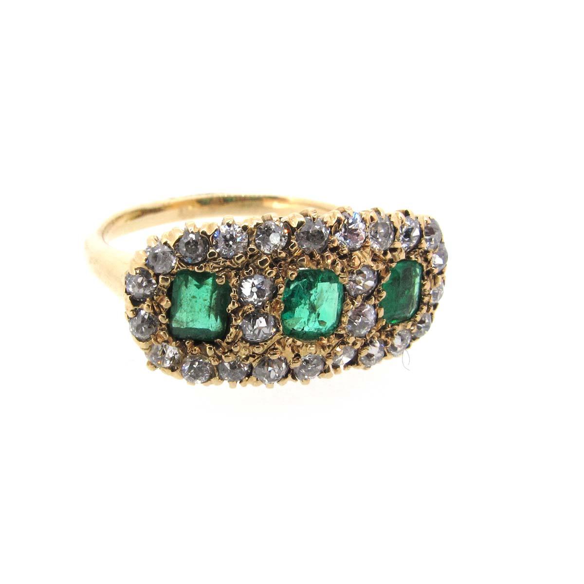 Emerald & diamond triple cluster ring