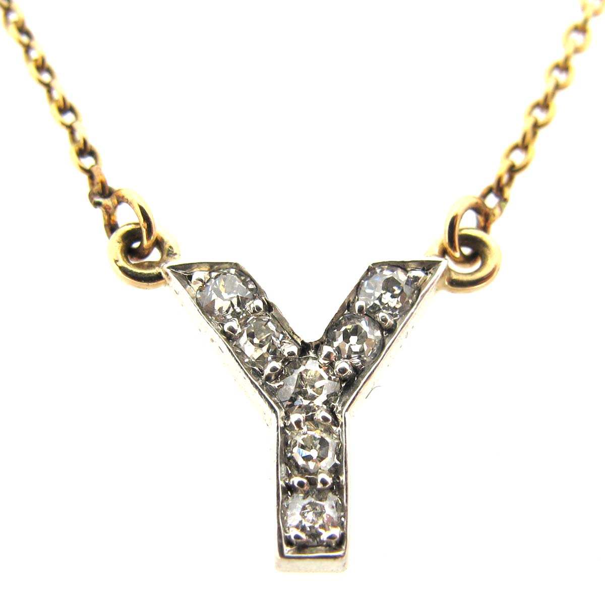 Antique 'Y' Diamond Initial Pendant
