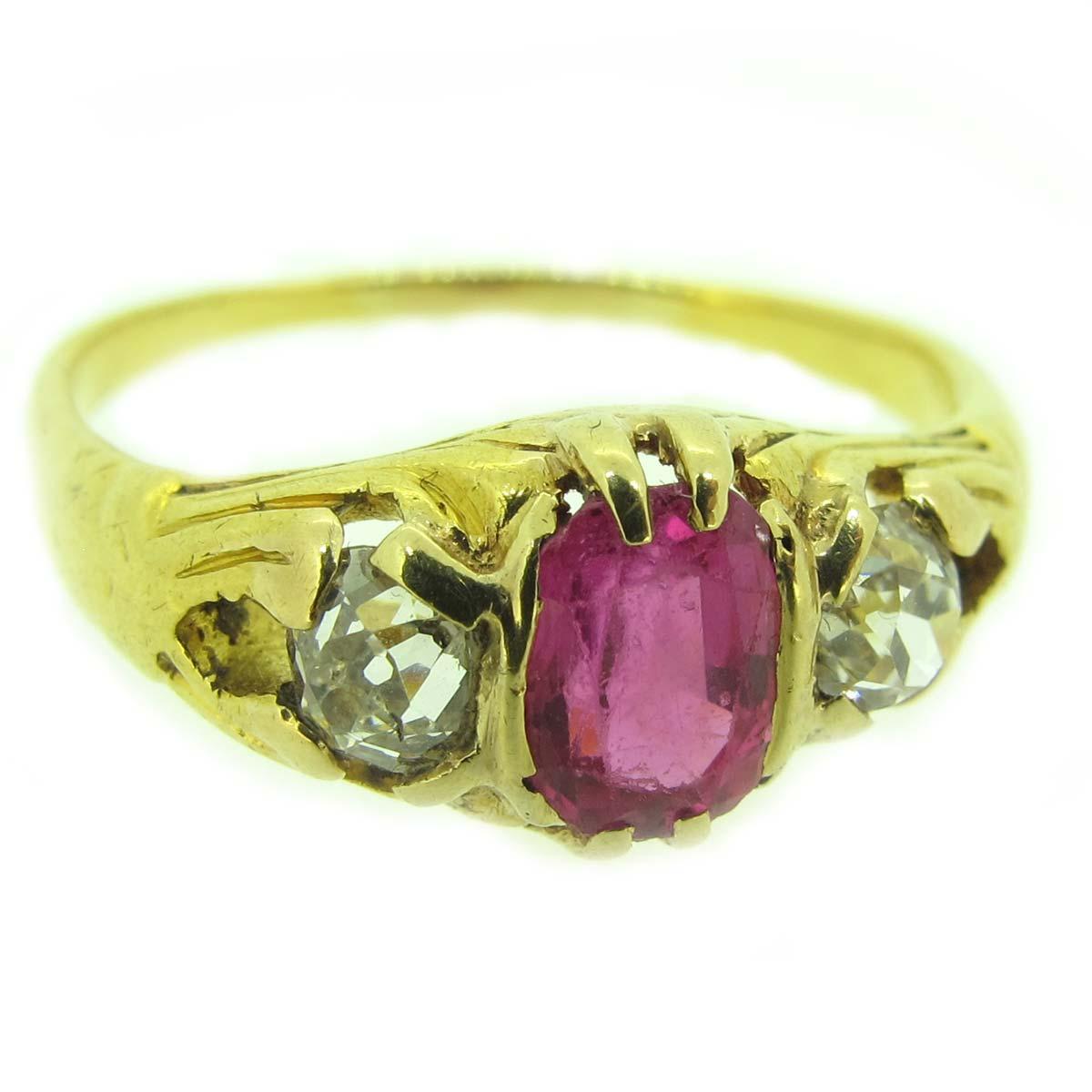 antique gold, ruby & diamond ring