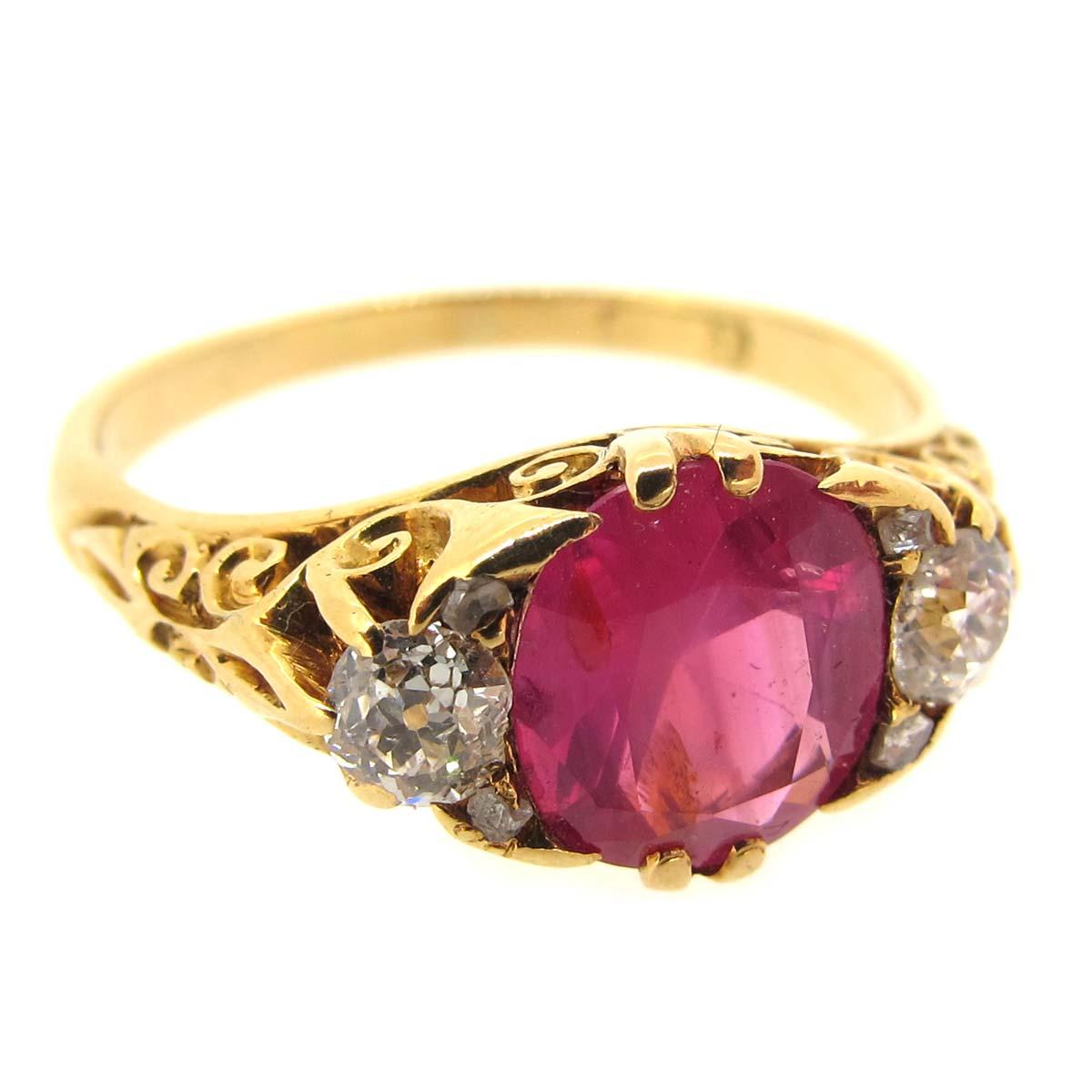 Antique Pink Sapphire & Diamond Ring